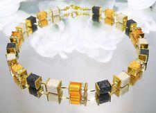 Würfelkette Halskette Würfel Lava Polaris Strass sand schwarz gold curry 304