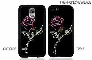 Disney Beauty and the Beast Neon Rose Phone Case Apple iPhone & Samsung Galaxy