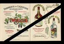 Vintage French Alcohol Brochure: 4 Section Antique Chromos - E. Sion - France