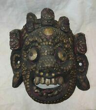 Maschera etnica in legno e lamierini argentati e dorati cm 27x24 Antikidea
