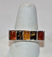Vintage Sterling Silver 925 Multi-Color AMBER GEMSTONE MODERN Band Ring Sz- 8.25