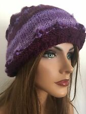 Hand Knits 2 Love Beanie Hat Slouch Purple Ombre Designer Fashion Female Chic