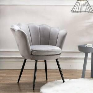 Scallop Back Armchair Lotus Petal Tub Seat Lounge Grey Velvet Accent Sofa Chair