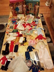 Large Lot Vintage Barbie Ken Midge Dolls Clothing Cases Accessories