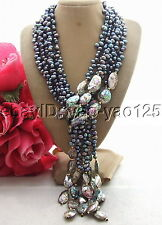 "R072004 50"" black Pearl  Abalone Shell Necklace"