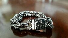 "Stainless Steel 316L Bracelet 8.5"" 91 grams 15mm wide Heavy fleur de lis E261"
