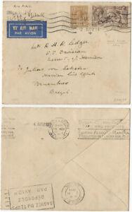 GB KGV 1934 Airmail cover Shoreham By Sea to Pernambuco, Brazil 2/6 + 1/-