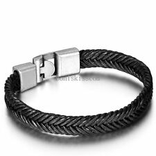 Men's Leather Cord Braided Rope Wheat Chain Bracelet Wristband Fashion Jewelry