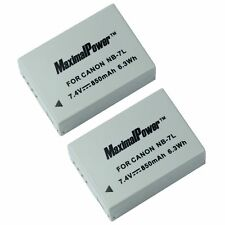 TWO BATTERIES for CANON NB-7L PowerShot G-Series G10 G11 G12 SX30IS BATTERY X 2