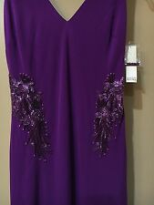 NWT $935 Badgley Mischka Embellished Gown Purple Orchid Open Back Maxi Dress 4