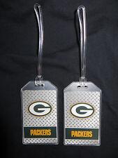 GREEN BAY PACKERS DIAMOND PLATE LOGO LUGGAGE TAGS - SET OF 2 - TRAVEL ID BAG