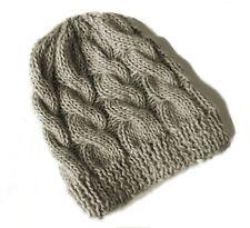 Berretto cappello donna lana trecce GRIGIO DORATO realizzato a mano 1821763d31e2