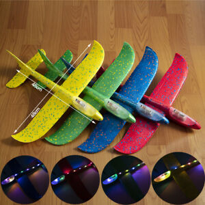LED Hand Throwing Glider Foam Airplane Model Kids Remote Control Aircraft Toys
