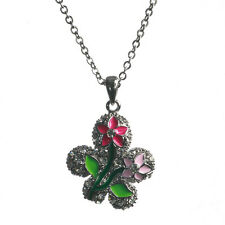 New Silver Tone Crystal Pink Enamel Flower Charm Pendant Necklace in Gift Box