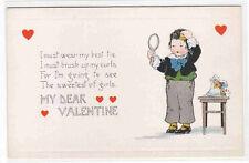 Junge Spiegel Locken Haar Bürste Valentine day 1910c Postkarte