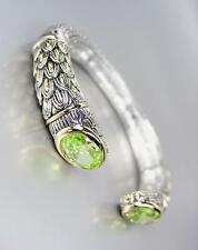 STUNNING Designer Inspired Green Peridot CZ Crystals Balinese Cuff Bracelet