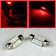 "2x Red Interior Map Reading Dome 1.50"" Festoon 6-SMD LED Light Bulbs C6W 6418"