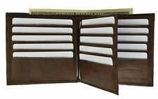 Men's Brown Genuine Leather Wallet with 16 Credit Card Slots/ ID Slot by Marshal