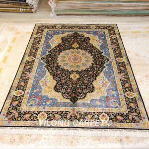 Yilong 6'x9' Blue Medallion Handmade Silk Rug Handknotted Foyer Carpet 408A