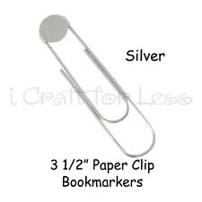 10 SILVER Jumbo / Large Paper Clip Bookmarkers with 16mm Pad - 3 1/2 Inch