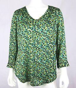 LIZ CLAIBORNE Women's Pullover Top Size S Multi Color 3/4 Sleeves V-Neck