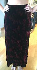 ANN TAYLOR Women's Black and Burgandy Red Floor Length Velvet Skirt Size 6 NEW