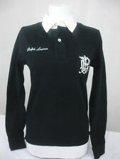 "NWT Ralph Lauren Rugby Polo Shirt Black Cream PRL Logo ""3"" Long Sleeve S Small"