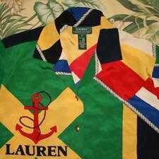 Womens Vtg Polo RALPH LAUREN Silk RL 67 Nautical Blouse Shirt Medium M