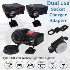 Cargador usb doble moto impermeable puertos encendedor de Soporte de Espejo/Volt meter