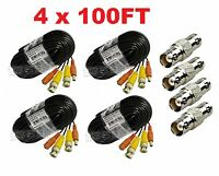 Premium Quality 4x100ft Video Power BNC Cable fit Zmodo CCTV Security Camera