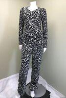 SOFT FLEECE Women's Cozy & Warm Black & White Pajama Set~ Size S (4/6)