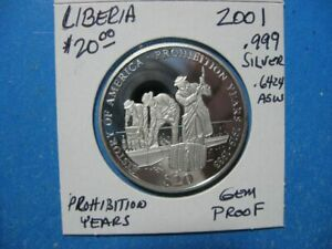2000 LIBERIA $20. DISCOVERY OF AMERICA .6424 ASW .999