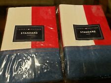 (2) Tommy Hilfiger Pillow Shams Denim Flag New In Packaging Standard Sham