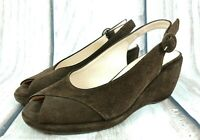 Hobbs Dark Brown Suede Slingback Wedges Shoes Peep Toe Size UK 4 EU 37