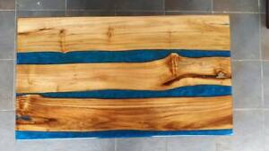 """36"""" x 22"""" Blue Epoxy Resin Wooden Center Coffee Table Top Furniture Decor"""