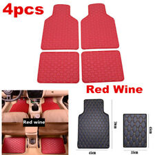 Set Of 4 PU Leather Car Protect Floor Mats Waterproof Liners Front&Rear Carpets