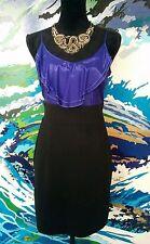 MISS SHOP Mini Dress - Purple Satin Black Ponte Ruffle Pencil Club Cocktail - 12