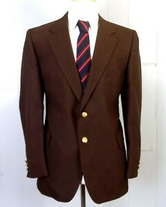 NWT new Tropical vtg Solid Brown Blazer Sportcoat gold buttons portly 40 S 40PS
