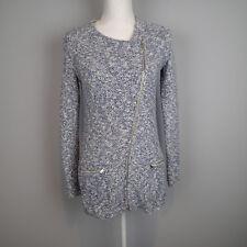 Banana Republic blue whiteTweed Jacket Zip Front Sweater Knit Coat sz xs  ku