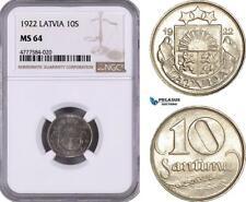 AE969, Latvia, 10 Santimu 1922, NGC MS64