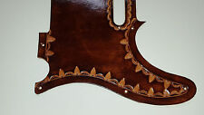 "Leather pick guard Custom Hand Tooled Leather Telecaster  ""Borders""  brown"