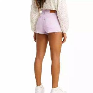 NWT Levi's Premium Womens Sz 28 Purple Lavender Ribcage High Rise Jean Shorts