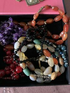 Job Lot Vintage Bead Necklaces. Boxed. Mixed Beads And Stone