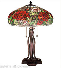 """23.5"""" TIFFANY PEONY Table Lamp Stained Glass Tiffany Style Pink Red Green Flower"""