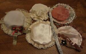 5 hats for antique or porcelain dolls assorted sizes