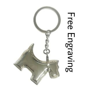 Personalised Scottie Dog Keyring | Engraved Message Tag & Gift Bag Included