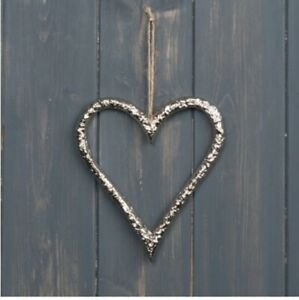 Hanging Silver Metalic Heart or Star Decoration, Rustic luxe home decoration