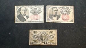 THREE Circulated FRACTIONAL 10 & 25C NOTES FR# 1255, 1266 & 1308 BUY IT NOW!