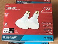 Case of 4 - 2/Packs-Ace 65 Watt Incandescent Reflector Floodlight BR30 Bulbs