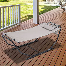 Hammock Swing Bed Chaise Hanging Lounge Garden Outdoor Patio Furniture w/Stand